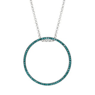 Sterling Silver Multi-colored Diamond Stackable Circle Pendant Necklace (G-H, I1-I2, I2-I3)