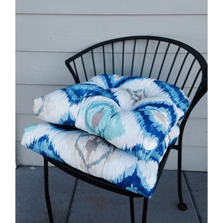 Ocean Ikat Indoor/ Outdoor Reversible Chair Pads (Set of 2)