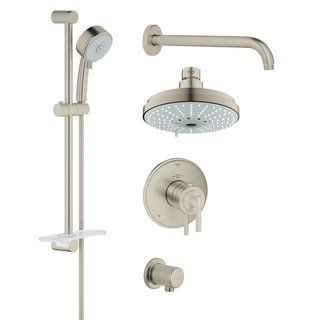 Grohe Atrio Jota Atrio Thermostatic Trim Rapido Bath Plus Shower Set Brushed Nickel