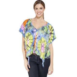 Women's Colorful Tie-dye Asymmetrical Top (Indonesia)