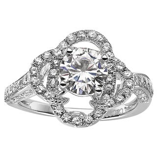 Charles Colvard Sterling Silver 1 68 TGW Round Classic Moissanite Solitaire Fashion Ring