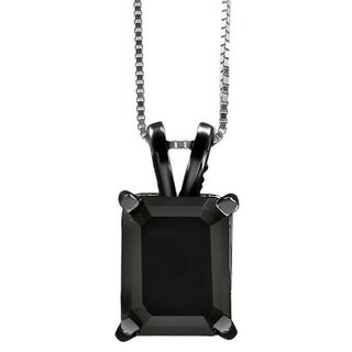 Noori 14k Black Gold 2 4/5ct Black Emerald-cut Diamond Solitaire Pendant