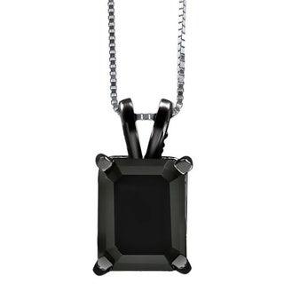 Noori 14k Black Gold 2 4/5ct Black Emerald-cut Diamond Solitaire Pendant