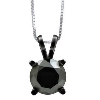 Noori 14k Black Gold 1 1/2ct TDW Black Round Diamond Solitaire Pendant