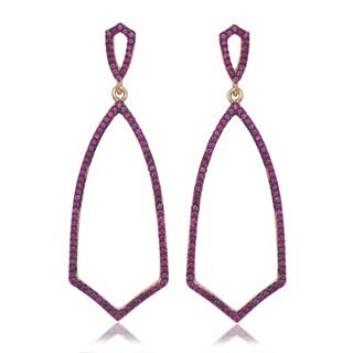 La Preciosa  Rose-plated Sterling Silver CZ Open Earrings
