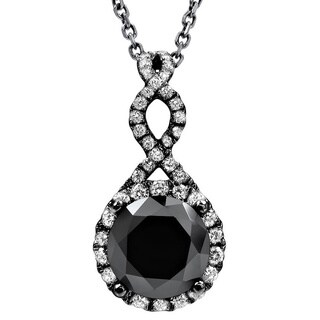 Noori 14k Black Gold 2 1/5ct TDW Black Diamond Infinity Knot Necklace
