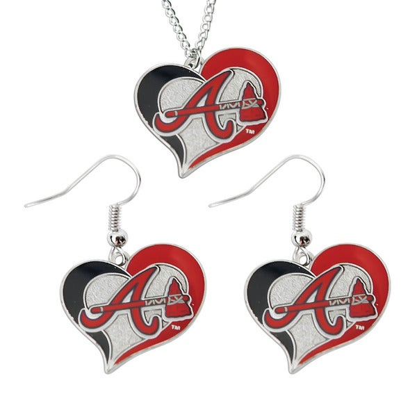 MLB Sports Team Logo Necklace and Dangle Earring Charm