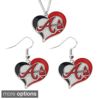 MLB Sports Team Logo Necklace and Dangle Earring Charm (Option: Atlanta Braves)