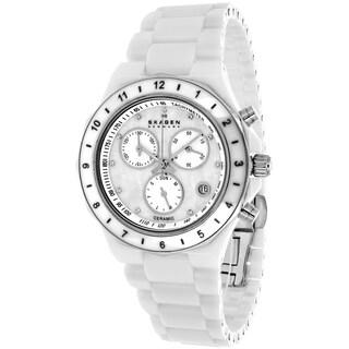 Skagen Women's 913SWXC Ceramic Round White Bracelet Watch