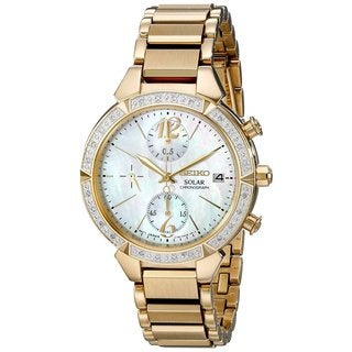 Seiko Women's SSC864 Stainless Steel and Diamond Solar Chronograph Watch