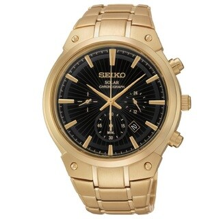 Seiko Men's SSC320 Stainless Steel Gold Tone Solar Chronograph Watch