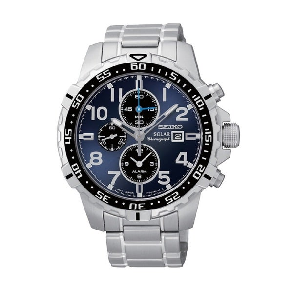 7c55f16b98e Shop Seiko Men s SSC305 Stainless Steel Solar Alarm Chronograph Watch -  Free Shipping Today - Overstock - 10009517