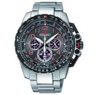 Seiko Men's SSC315 Stainless Steel Solar Chronograph Flight Computer Watch