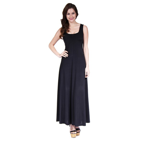 24/7 Comfort Apparel Women's Scoop-Neck Tank Maxi Dress