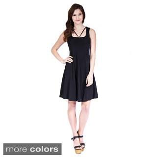 24/7 Comfort Apparel Women's Abstract Neckline Sheath Dress