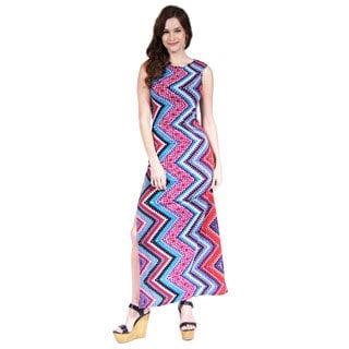 24/7 Comfort Apparel Women's Boat Neck Printed Tank Maxi Dress