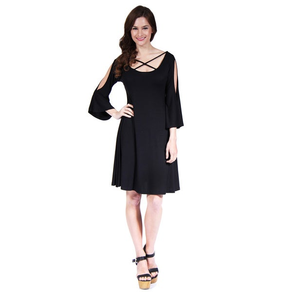24/7 Comfort Apparel Women's Abstract Neck Split-Sleeve Dress