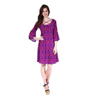 24/7 Comfort Apparel Women's Abstract Print Split-Sleeve Dress