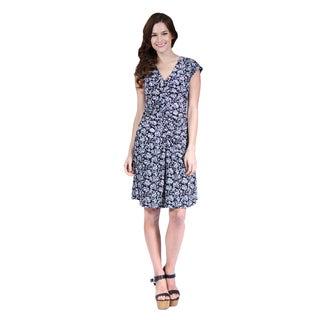 24/7 Comfort Apparel Floral Grey Printed Dress
