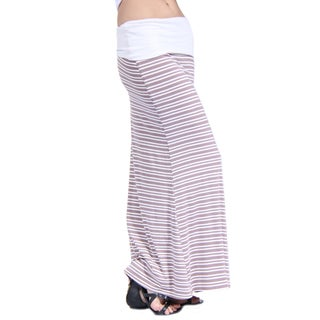 24/7 Comfort Apparel Women's Hazel Stripe Printed Fold-Over Maxi Skirt