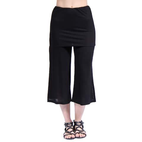 24/7 Comfort Apparel Women's Elastic Waist Stretch Capri Pants
