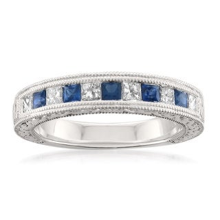 Montebello 14k White Gold 2/5ct TDW Princess-cut White Diamond and Blue Sapphire Wedding Band