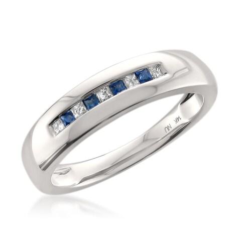 Montebello 14k White Gold Men's 1/6ct TDW Princess-cut White Diamond and Blue Sapphire Wedding Band (H-I, I1)