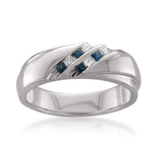 Montebello 14k White Gold Men's 1/6ct TDW Princess-cut White Diamond and Blue Sapphire Wedding Band