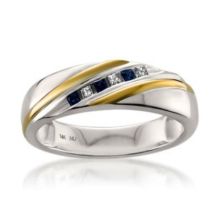 Montebello 14k White Gold Men's 1/10ct TDW Princess-cut Diamond and Blue Sapphire Wedding Band (H-I, I1)