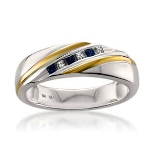 Montebello 14k Gold Men's 1/10ct TDW Princess-cut Diamond and Blue Sapphire Wedding Band