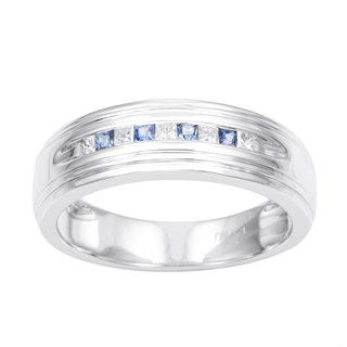 Montebello 14k White Gold Men's 1/6ct TDW Princess-cut Diamond and Blue Sapphire Wedding Band (H-I, I1)