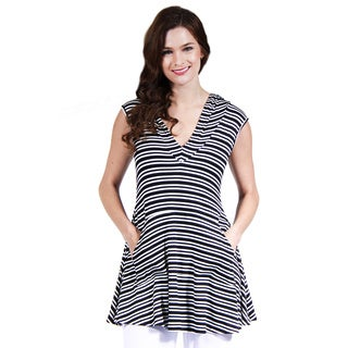 24/7 Comfort Apparel Black and White Stripe Printed Tunic