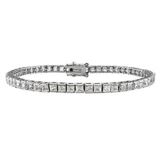 Montebello 14k White Gold 6ct TDW Princess-cut White Diamond Tennis Bracelet (H-I, I1-I2)