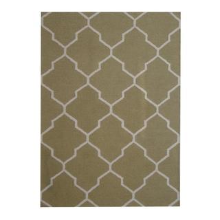 Herat Oriental Indo Hand-tufted Contemporary Design Green/ Beige Wool Rug (5' x 7')