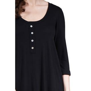 24/7 Comfort Apparel Women's 3/4 Sleeve Extra-Long Tunic
