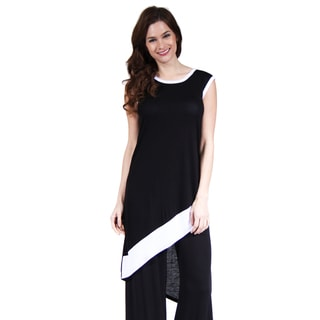 24/7 Comfort Apparel Women's Black and White Slant Hem Tunic