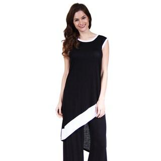 24/7 Comfort Apparel Women's Black and White Slant Hem Tunic