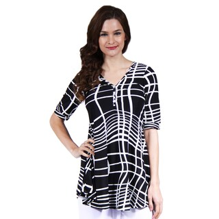 24/7 Comfort Apparel Women's Abstract Stripe Henley Tunic Top