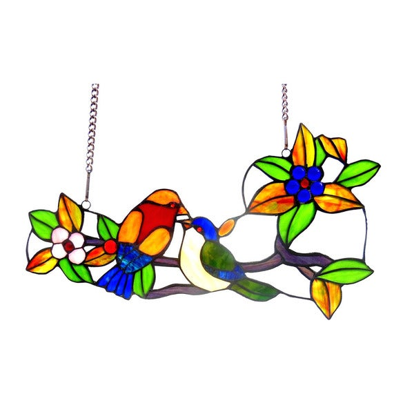 a2d911af0 Shop Chloe Tiffany Style Spring Bird and Floral Design Window Panel/Suncatcher  - Free Shipping Today - Overstock - 10010163