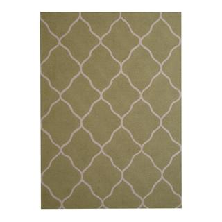 Herat Oriental Indo Hand-tufted Contemporary Design Light Green/ Ivory Wool Rug (5' x 7')