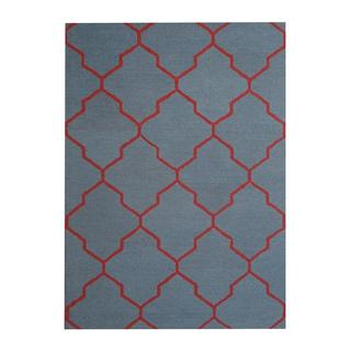 Herat Oriental Indo Hand-tufted Contemporary Design Light Blue/ Red Wool Rug (5' x 7')