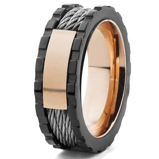 Men's Blackplated and Rose Goldplated Cable Inlay Ring