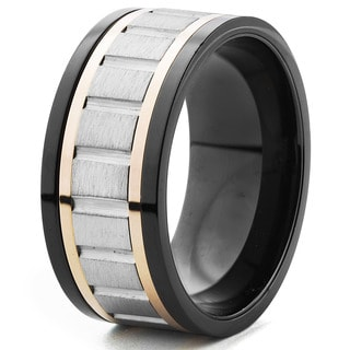 Men's Blackplated and Rose Goldplated Brushed Spinner Band Ring (10 mm)