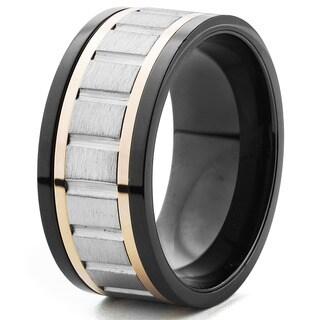 Men's Tri Color Brushed Finish Grooved Spinner Ring (10 mm) - Black