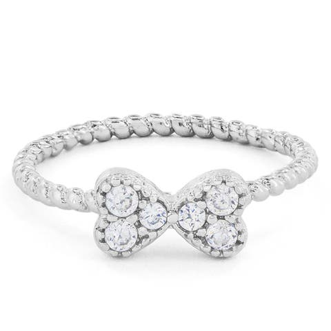 Silvertone Heart Bow Crystal Midi Knuckle Ring - Silver