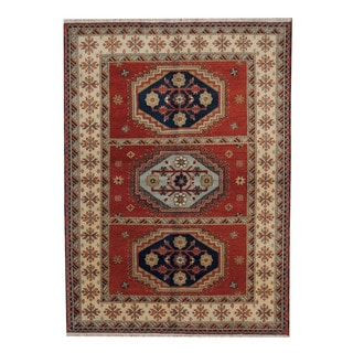 Herat Oriental Indo Hand-knotted Tribal Kazak Red/ Blue Wool Rug (5'9 x 8')