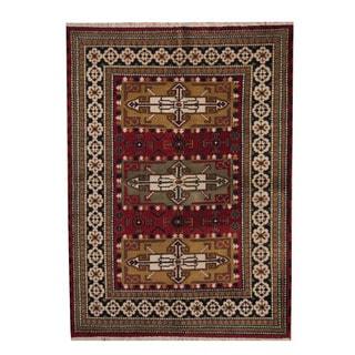 Herat Oriental Indo Hand-knotted Tribal Kazak Wool Rug (5'7 x 7'10)
