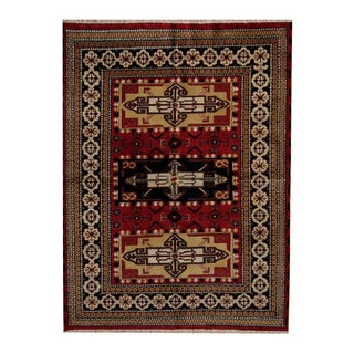 Herat Oriental Indo Hand-knotted Tribal Kazak Red/ Black Wool Rug (5'8 x 7'8)