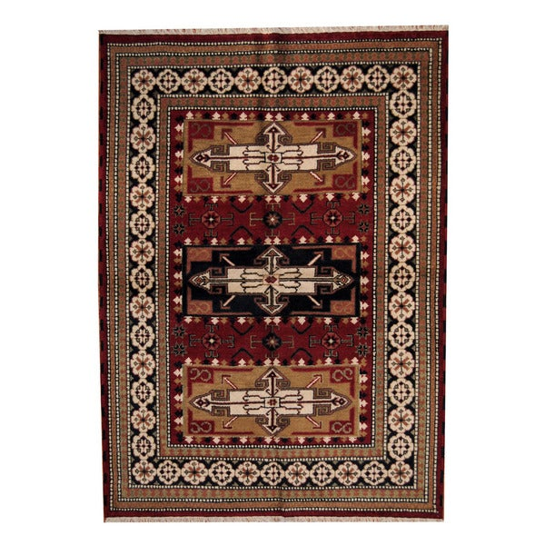 Herat Oriental Hand Tufted Wool Red Black Area Rug: Herat Oriental Indo Hand-knotted Tribal Kazak Wool Rug