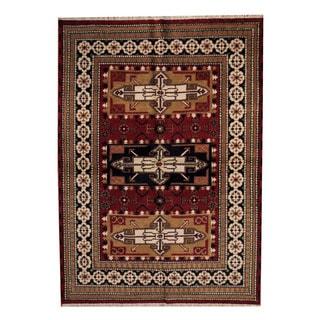 Herat Oriental Indo Hand-knotted Tribal Kazak Red/ Black Wool Rug (5'7 x 7'10)